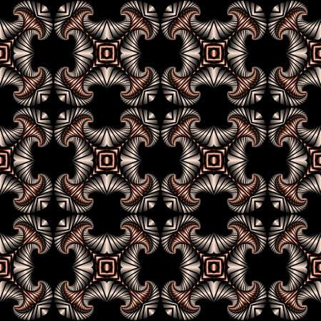 Abstrakt Luxus nahtlose Muster mit Silber und Bronze Gradienten dekorativen Ornament auf schwarzem Hintergrund Standard-Bild - 58455429