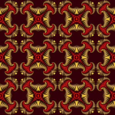 Abstract luxurious seamless pattern with golden and red decorative ornament on dark red background