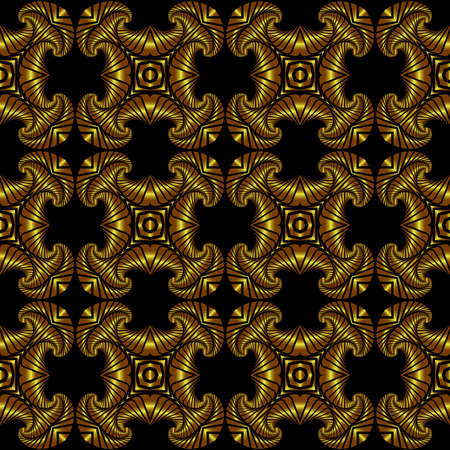 검은 배경에 황금 장식 장식으로 추상 우수한 원활한 패턴