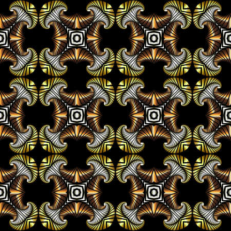iron curtains: Abstract chic seamless pattern with golden, silver and bronze decorative elements on black background