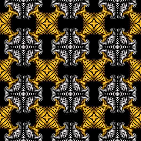 Abstrakt edle nahtlose Muster mit goldenen und silbernen dekorativen Ornament auf schwarzem Hintergrund Standard-Bild - 58455456