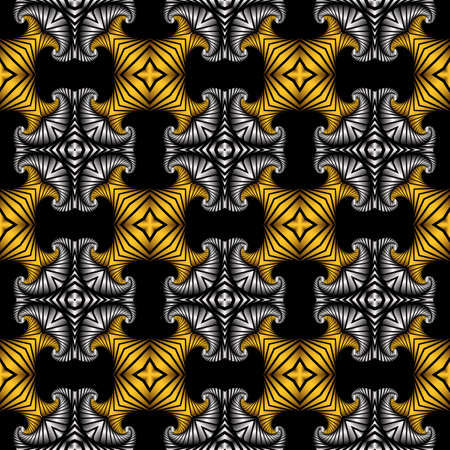 Abstract noble seamless pattern with golden and silver decorative ornament on black background