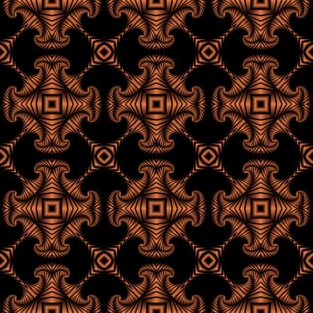 Abstrakt Premium nahtlose Muster mit Kupfer dekorativen Elementen auf schwarzem Hintergrund Standard-Bild - 58455458