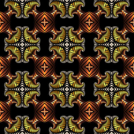 iron curtains: Abstract splendid seamless pattern with golden, silver and copper decorative elements on black background