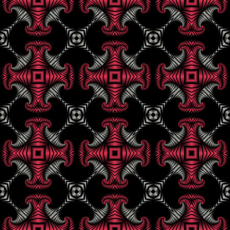 deluxe: Abstract deluxe seamless pattern with stainless steel and cherry metallic decorative elements on black background