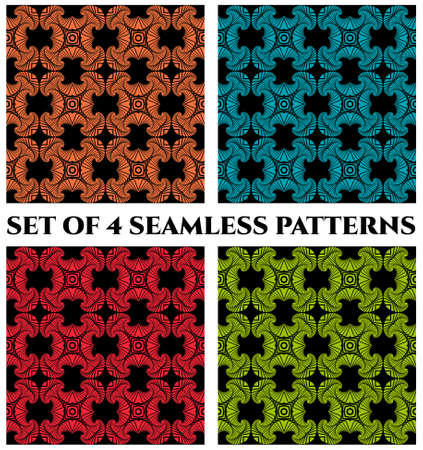 Set of 4 abstract modern seamless patterns with green, orange, red and blue shades decorative elements on black background