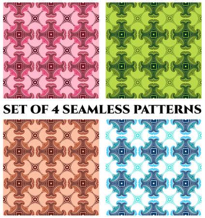 Abstrakte moderne nahtlose Muster mit Fraktal dekorativen Elemente der grünen, weinig, rosa, blau, weiß und braunen Farbtönen Standard-Bild - 58455914