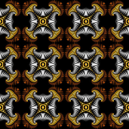 Abstract deluxe seamless pattern with golden, silver and bronze decorative elements on black background