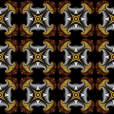Abstrakt Luxus nahtlose Muster mit goldenen, Silber und Bronze dekorative Elemente auf schwarzem Hintergrund Standard-Bild - 58457061