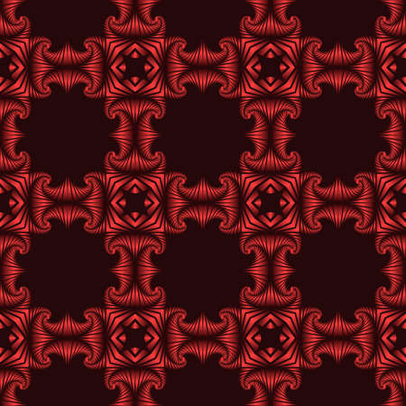 Abstract stylish seamless pattern with red metallic decorative elements on dark red background