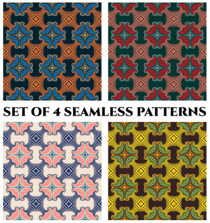 Abstract trendy seamless patterns with decorative ornament of blue, orange, beige, red, pink, teal, green, yellow and black shades