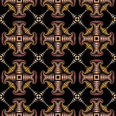 Abstrakt Luxus nahtlose Muster mit goldenen, silbernen, rot metallic und metallic pink dekorativen Ornament auf schwarzem Hintergrund Standard-Bild - 58457072