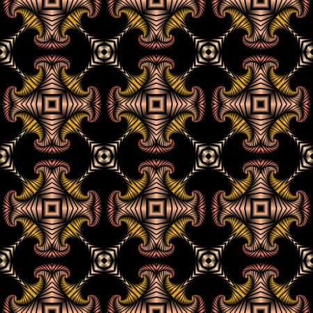 Abstract luxurious seamless pattern with golden, silver, metallic red and metallic pink decorative ornament on black background