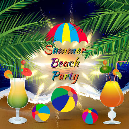 icy: Abstract summer beach party background with palm branches, beach balls, umbrella and icy cocktail glasses