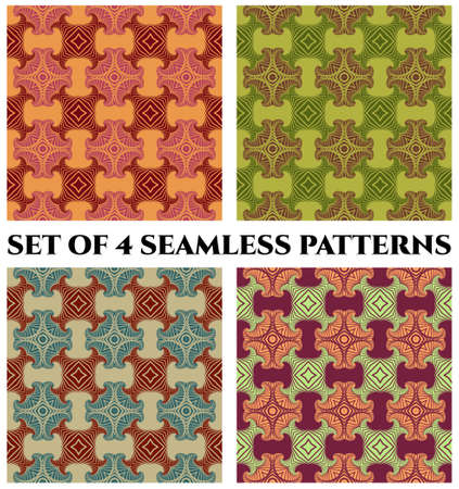 Abstract fashionable retro seamless patterns with decorative ornament of orange, red, violet, green and blue shades