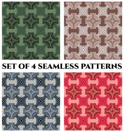 Abstrakte moderne nahtlose Muster mit dekorativen Elementen des Fractal von blauen, grünen, roten und braunen Schatten Standard-Bild - 58457075