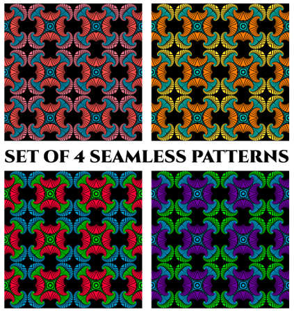 Abstract trendy seamless patterns with blue, red, pink, orange, yellow, green and violet shades decorative elements on black background Ilustracja