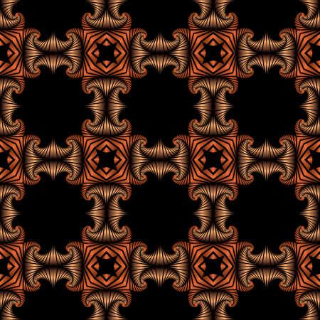 Zusammenfassung Premium nahtlose Muster mit Bronze und Kupfer dekorativen Elementen auf schwarzem Hintergrund Standard-Bild - 58457080
