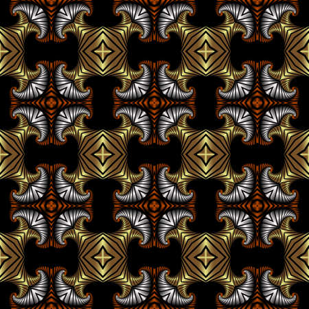 Abstract splendid seamless pattern with golden, silver and copper decorative elements on black background