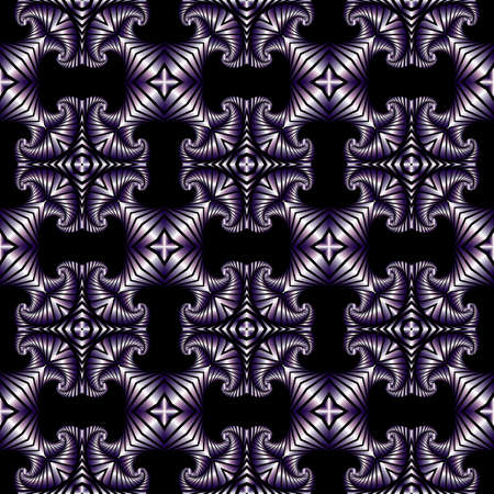 Abstract stylish nahtlose Muster mit metallischen violett dekorativen Elementen auf schwarzem Hintergrund Standard-Bild - 58457083