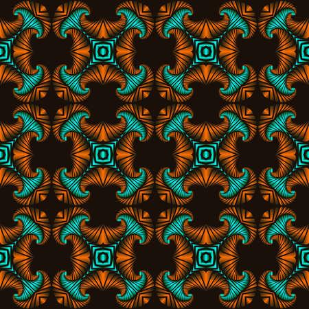 Abstrakt trendy nahtlose Muster mit orange und türkis metallic dekorative Elemente auf dunkelbraunem Hintergrund Standard-Bild - 58457084