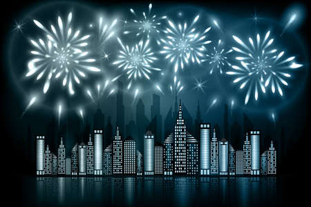 night: Abstract illustration of fireworks exploding in night sky over downtown city with reflection in water of grey blue shades