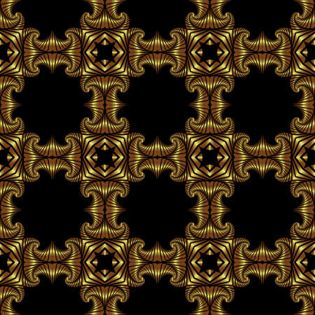splendid: Abstract splendid seamless pattern with shiny golden decorative elements on black background Illustration