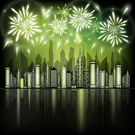 Abstract illustration of fireworks exploding in night sky over downtown city with reflection in water of green shades