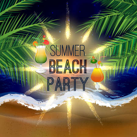 cocktail glasses: Abstract summer beach party background with palm leaves and icy cocktail glasses