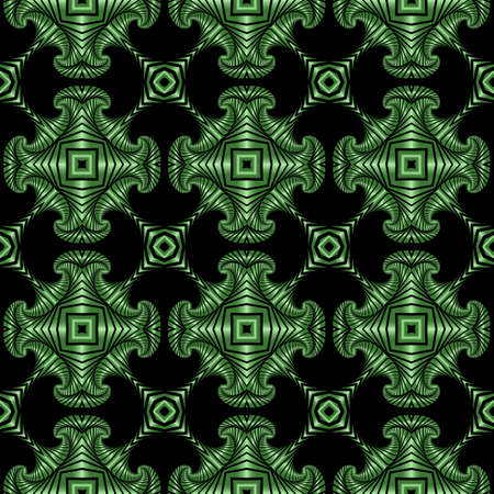 Abstract stylish seamless pattern with emerald green metallic decorative elements on black background