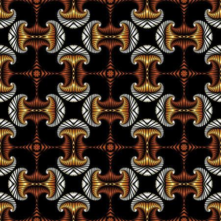 Abstrakt Luxus nahtlose Muster mit goldenen, Silber und Bronze dekorative Elemente auf schwarzem Hintergrund Standard-Bild - 60389174
