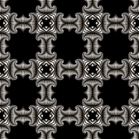 deluxe: Abstract deluxe seamless pattern with silver decorative elements on black background Illustration
