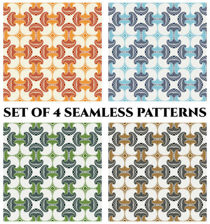 Abstract seamless patterns with decorative ornament of orange, red, blue, green, grey and brown shades on white background