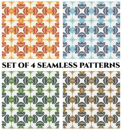 Abstrakte nahtlose Muster mit dekorativen Ornament von orange, rot, blau, grün, grau und braun Schattierungen auf weißem Hintergrund Standard-Bild - 60389205