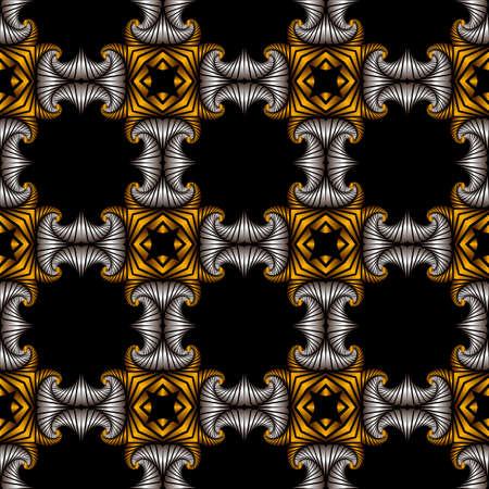 Abstrakt luxuus nahtlose Muster mit goldenen und silbernen dekorativen Ornament auf schwarzem Hintergrund Standard-Bild - 60389207