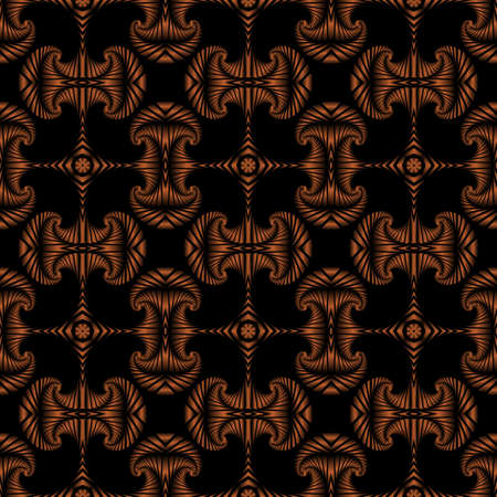 deluxe: Abstract deluxe seamless pattern with bronze decorative ornament on black background