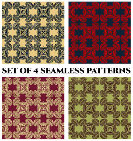 Abstract trendy seamless patterns with decorative ornament of yellow, blue, red, beige, vinous, green and brown shades