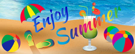 Abstract enjoy summer background with elements of beach, ocean, beach balls, slippers, umbrella and cocktail glass. Enjoy summer banner. Summer season. Summer time. Happy summer. Summer day. Summer design. Summer vector. Summer text. Summer lettering. Sum