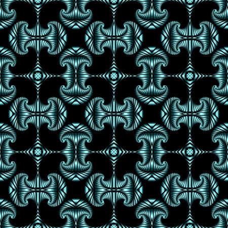 azure: Abstract stylish seamless pattern with azure metallic decorative elements on black background Illustration