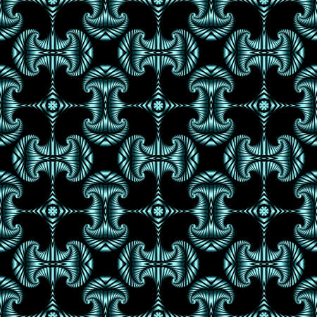 Abstract stylish seamless pattern with azure metallic decorative elements on black background Illustration