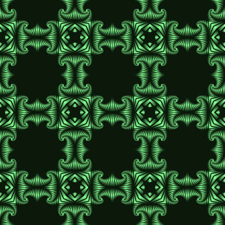 Abstract deluxe seamless pattern with green metallic decorative elements on dark green background