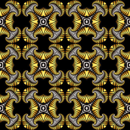 iron curtain: Abstract luxurious seamless pattern with golden and silver decorative ornament on black background Illustration