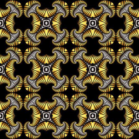 Abstrakt Luxus nahtlose Muster mit goldenen und silbernen dekorativen Ornament auf schwarzem Hintergrund Standard-Bild - 60389306