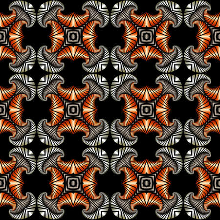 Abstract splendid seamless pattern with silver, stainless steel and copper decorative elements on black background