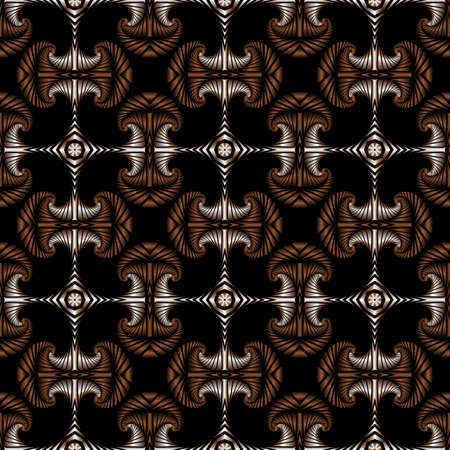 Abstract deluxe seamless pattern with silver and bronze gradient decorative ornament on black background
