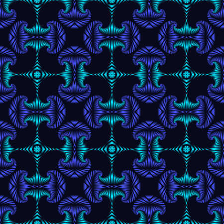 blue metallic background: Abstract trendy seamless pattern with blue and azure metallic decorative elements on dark blue background