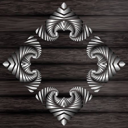 Abstract decorative silver frame on dark grey wooden surface