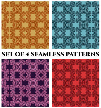 violet red: Abstract fashionable seamless patterns with fractal decorative ornament of brown, blue, violet and red shades