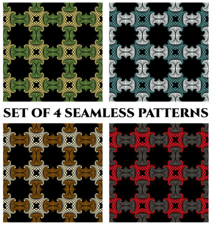 Abstract trendy seamless patterns with green, yellow, white, blue, golden, red and grey shades decorative elements on black background