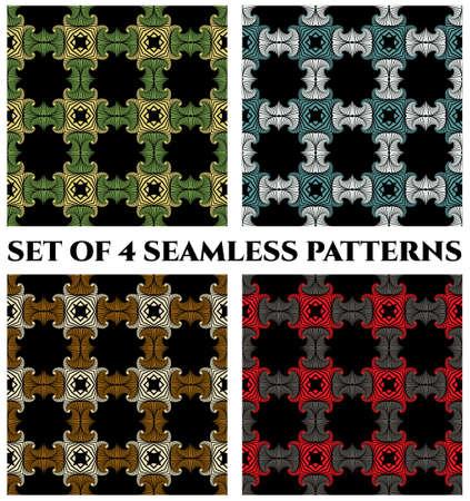 Abstrakt trendy nahtlose Muster mit grün, gelb, weiß, blau, Gold, Rot und Grautönen dekorative Elemente auf schwarzem Hintergrund Standard-Bild - 60389316